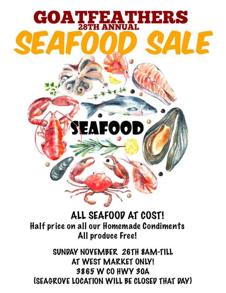 Goatfeathers 28th Annual Seafood Sale | SoWal com