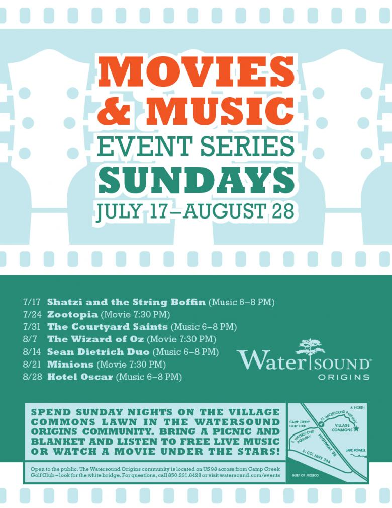 Sunday Movies & Music at Watersound Origins | SoWal com