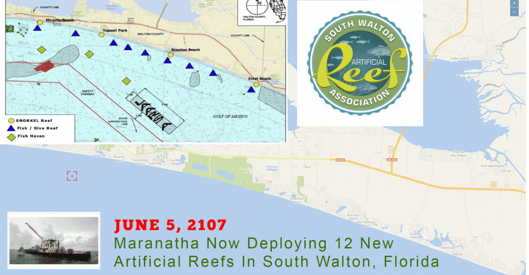 Florida Artificial Reefs Map.Multiple South Walton Artificial Reef Deployments Commence June 5